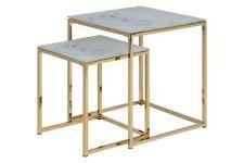 pkline Ensemble de deux Table d'appoint Almaz en verre basse marbre