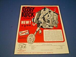 "LINDBERG 1965 "" GOOFY KLOCK "" single sided dealer sales flyer L@@K!"