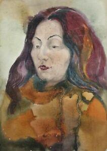 Vintage watercolor painting fauvist woman portrait