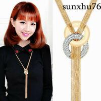 Women Fashion Gold Silver Long Chain Lariat Necklace Tassel Pendant Jewelry