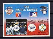 16070) st Vincent 1989 MNH S/S Basebal Dodgers World
