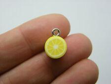10 Lemon slice charms yellow white polymer clay FD680