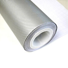 "12""x60"" Silver 3D Carbon Fiber Vinyl Car DIY Wrap Sheet Roll Film Sticker Decal"