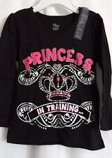 GIRLS 18-24 MONTHS PRINCESS IN TRAINING BLACK SHIRT NWT ~ THE CHILDREN'S PLACE