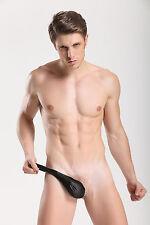 Tanga Lateral talla XL negro telas engrasado piel sintética sexy Ref 339 gay