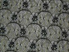 black & gray lycra stretch lace fabric floral spandex material By The Yard x49