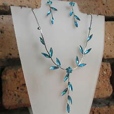 Lovely Necklace & Earring Set Turquoise Crystal Diamante Wedding Bride UK Post