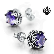 Silver earrings purple crystal stainless steel crown stud 1.25ct tension backs