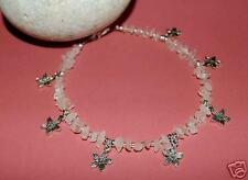 Genuine Pretty Rose Quartz & Tibetan Silver Flower Anklet
