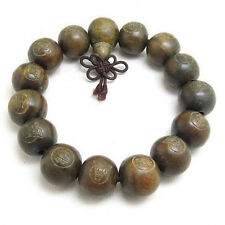 "Fragrant 15 15mm Green Sandalwood Carved Buddha Prayer Beads Mala Bracelet 7"""
