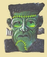 "Lighted Spooky Frankenstein Wall Decor Halloween Monster Green 10.5"" tall  Metal"