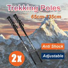 2x New Hiking Trekking Poles Walking Stick Adjustable Camping Black Lightweight