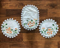 "Vintage Hand Embroidered and Crocheted Doilies Set Matching Set 9"" Round 12"""