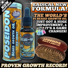 #1 LEGENDS BEARD™ GROWTH OIL THICKENER + BOAR BRUSH - MASCULINE ICEMINT SCENT!