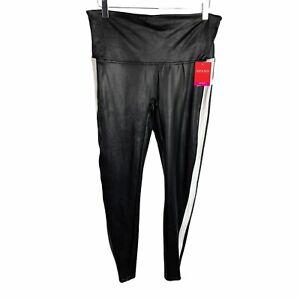 NEW Spanx Faux Leather Black Stripe Leggings White Tuxedo Stripe Size XL