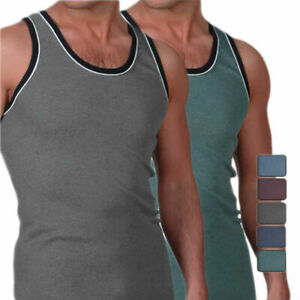 4er Pack Herren Unterhemd Melange Achselhemd Tank Top Achselshirt Baumwolle