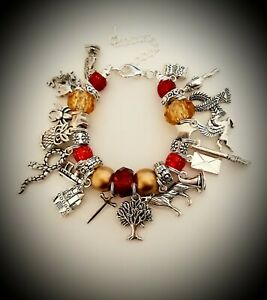 19cm Charm BRACELET Harry Potter Inspired Jewellery Gryffindor Red Gold