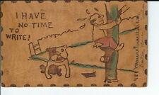 AU-035 - Dog Gone It, Bulldog, Vintage Leather Postcard 1900's