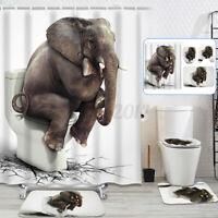 US White Elephant Bathroom Shower Curtain Non-slip Bath Mat Lid Toilet Cover Rug