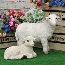 More details for white sheep lamb garden ornament statue farmyard animal lawn statue patio décor