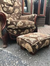 Wing Back Armchair Fabric Cloth on Casters Very Good Condition