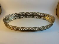 Gold Tone Metal Brass Vanity Tray Oval Mirror Filigree Ornate Floral 13 x 8 Inch