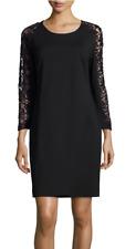 Magaschoni Lace-Sleeve Sheath Dress Black 2 NWT $378