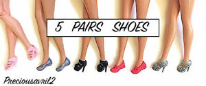 New Barbie doll clothes quality shoes 5 pairs high heels flats accessories