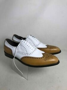Men Handmade Shoes Genuine Leather Classic Wingtip Oxford Shoes White Khaki Lace