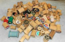 Lot 135 Vintage Wood Sewing Thread Spools-Empty Crafts-Art-Wooden