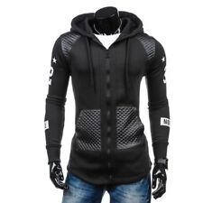 Men's Leather Hoodie Hooded Winter Warm Sweatshirt Sweater Coat Jacket Outwear