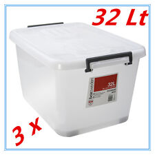3 x 32Lt STORAGE TUB BOX CONTAINERS HEAVY DUTY ROLLER LIDS CARRY HANDLES AP