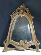 FRENCH LARGE BRONZE Victorian Art Nouveau Beveled Mirror~Lady WATER LILY Signed