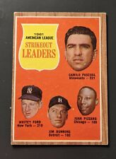 1962 Topps AL Strikeout Leaders #59 Pascual/Ford/Bunning/Pizzaro VGEX