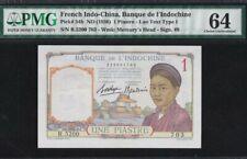 1936 French Indo-China 1 Piastre PMG64 UNC @ {54b}