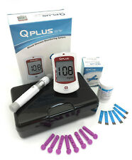 Q-PLUS Glucose Meter Kit for Blood Sugar Test | 1 Glucometer 50 Strips 50 Lances
