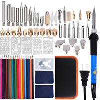 71Pcs 110V Wood Burning Pen Set Stencil Soldering Tips Tools Pyrography Kit