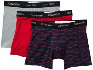 Calvin Klein Men's Elements 3 Pack Boxer Briefs Red/Grey/Navy, L