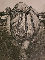 Rhinoceros RHINO  Lithograph Signed Susan Sona Signed