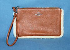 COACH 64765B Saddle Tan Pebbled Leather Shearling Trim Wristlet Zip Pouch