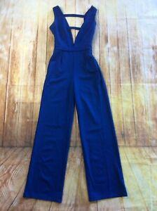 BCBG MaxAzria Women's Deep V Wide Leg Jumpsuit Club Romper Pants Blue A676 *XS