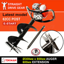 62CC TDKMAN Petrol Post Hole Digger Earth Auger 300mm Drill 600mm Ex Fence Borer