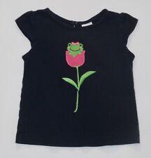 "Gymboree ""Bright Tulip"" Green Frog Pink Tulip Navy Blue Top, 18-24 mos."