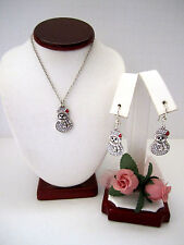 """Brighton """"LIL SNOWMAN"""" Necklace-Earring Set (MSR$96) NWT/Pouch"""