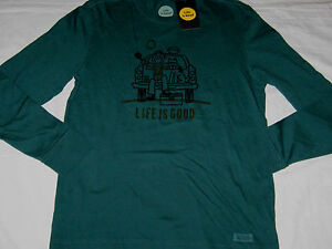 Life is good Mens Crusher Tailgate Football L/S T-Shirt Hunter Green Size S NWT