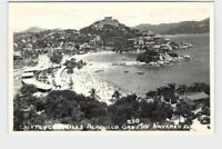 RPPC REAL PHOTO POSTCARD FOREIGN MEXICO ACAPULCO CLIFF VIEW OF BEACH AND CITY