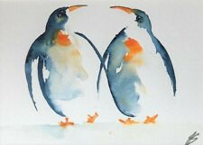 "Original watercolour painting Penguins10"" x 8"" including mount"