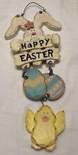 HAPPY EASTER Bunny Rabbit SIgn Wall Art Decor Door Hanger Eggs Baby Chick Wire