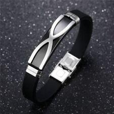 Bracelet homme acier inoxydable & silicone , caoutchouc, croix, noir