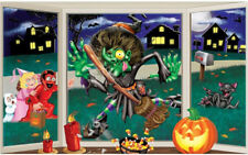 CRASHING WITCH window Scene Setter HALLOWEEN party prop wall decoration pumpkin